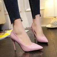 新款尖头细跟高跟女鞋小码 高跟鞋大码 浅口单鞋 粉红色 10厘米