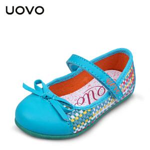 UOVO女童休闲鞋春季新款中小儿童童鞋搭扣编织公主鞋 爱丽丝
