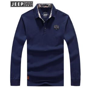 JEEP吉普翻领POLO衫男士舒适棉长袖T恤简约纯色打底衫户外休闲t恤