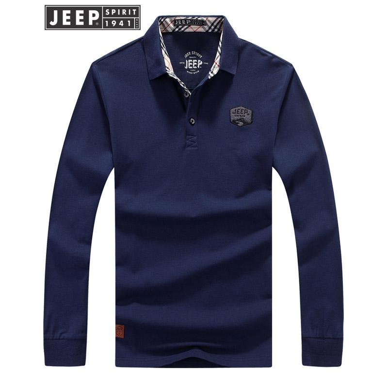JEEP吉普翻领POLO衫男士舒适棉长袖T恤简约纯色打底衫户外休闲t恤 吉普正品,好货不贵,放心去喜欢