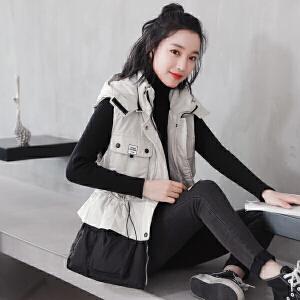 纤纯伊冬季新款韩版宽松拼色工装短款抽绳外套羽绒棉服马甲女潮