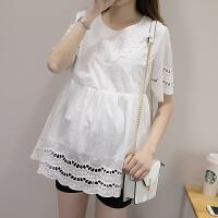 孕妇短袖上衣圆领衬衫中长款夏装怀孕期白衬衣宽松纯棉绣花娃娃衫 白色-短袖-娃娃衫