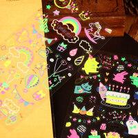 手工diy相册工具配件可爱装饰荧光贴 黑卡彩虹蛋糕多元素集合