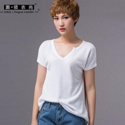 2018夏季新款不对称领短袖t恤女棉宽松薄款中长款蚕丝镂空针织衫