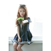 新品夏装韩版童装女童海军领短袖连衣裙中大童童裙爆款