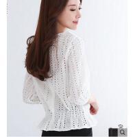 夏季时尚韩版镂空雪纺衫新款收腰蕾丝衫女七分袖V领显瘦短袖上衣