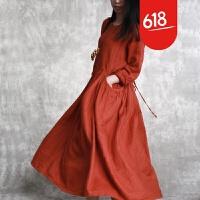 原创2018春款纯色亚麻连衣裙抽褶收腰显瘦气质大摆裙个性口袋长裙GH05 均码