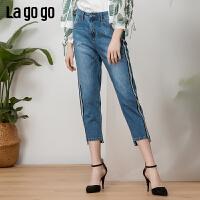 Lagogo2019夏季新款小脚纯棉高腰不规则修身牛仔裤女IANN433Q62