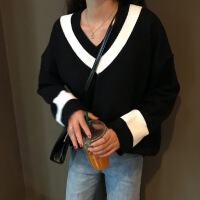 V领毛衣女秋冬新款韩版学院风小清新白色套头针织衫上衣打底衫厚 黑色 S
