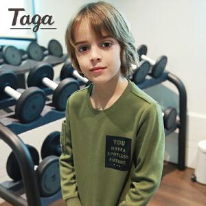 TAGA童装男童卫衣 春秋款儿童长袖T恤中大童打底上衣9-10-15岁