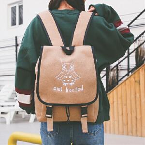 简约呢料双肩包2017新品日韩版简约水桶包休闲旅行包书包