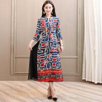时尚民族风修身连衣裙女装长袖中长款印花气质修身大摆裙2018新品 图片色