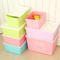 【包邮】三年二班●糖果色大号有盖厚衣物收纳箱 塑料整理箱子杂物储物盒