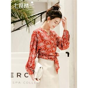 七格格红色小衫秋冬洋气2019新款女装春装时尚百搭V领欧货蕾丝衫