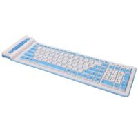 笔记本台2.4G无线USB 台试防水可折叠硅胶软键盘无声静音台式键盘 天蓝色 2.4G无线