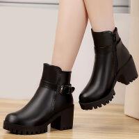马丁靴女靴子2019冬季新款韩版粗跟短靴高跟女鞋厚底加绒保暖棉靴