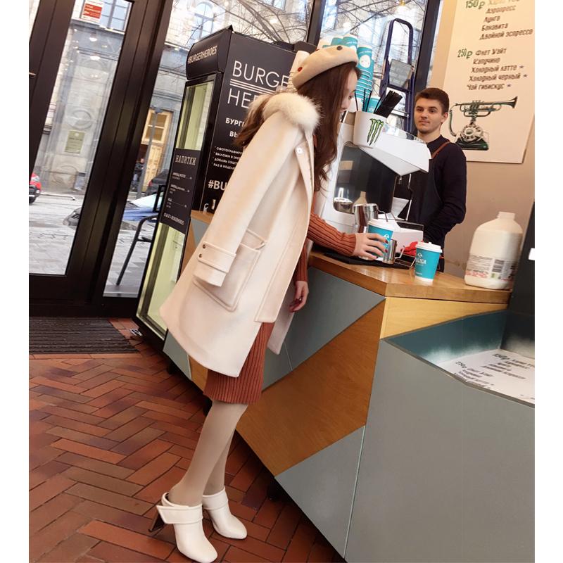 谜秀连帽毛呢外套女秋冬装2017新款韩国宽松加厚中长款呢子大衣潮加厚呢子