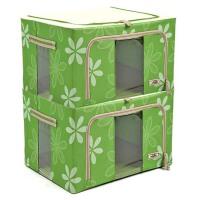 收纳箱太阳花牛津布有盖储物箱套装66L*2钢架百纳箱