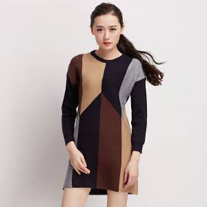 拼色菱形格针织毛衣裙女装潮套头中长款双面针长袖圆领连衣裙厚秋