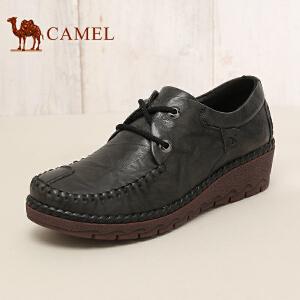 骆驼牌女鞋 2017秋季新品舒适坡跟女休闲鞋简约头层牛皮系带单鞋