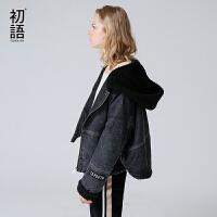 初语2017秋季新款棉服连帽侧开拉链拼接牛仔外套棉衣女装潮