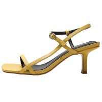一字扣带凉鞋女高跟2019夏季新款百搭简约性感细跟中跟小清新鞋子夏季百搭鞋