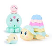 宝宝洗澡玩具儿童浴缸玩戏水喷水小乌龟抖音游泳婴儿男女孩叠叠乐海洋玩具八件套3岁以上