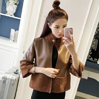 秋冬女装韩版时尚立领PU皮衣羊羔毛外套女短款两面穿夹克上衣
