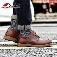 Z.Suo/走索男鞋马丁鞋男春季工装鞋潮流休闲皮鞋男低帮鞋子系带ZS16702