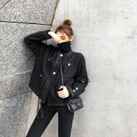 黑色廓形小香短款毛呢外套女秋冬2018新款大衣女加厚外套夹克上衣