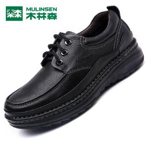 木林森男皮鞋 秋季新款男士商务休闲皮鞋 低帮系带百搭男皮鞋05367315