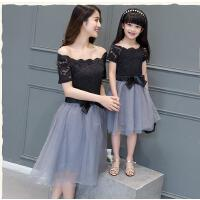 韩版母女装连衣裙修身公主裙一字领露肩蕾丝纱裙子亲子装夏装可礼品卡支付