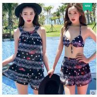 比基尼游泳衣女士分体感韩国小香风学生三四件套聚拢保守遮肚性 可礼品卡支付
