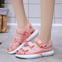()凉鞋女夏季女鞋子学生休闲平底沙滩鞋增高单鞋女士波西米亚鱼嘴拖鞋女露趾5003