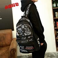 书包男中学生帆布背包韩版复古涂鸦双肩包休闲运动旅行包 黑色