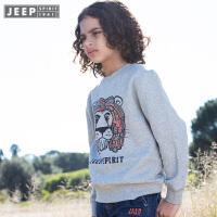 Jeep童装 男童卡通加绒卫衣纯棉中大儿童圆领针织外套套头衫秋新