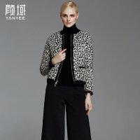 颜域品牌女装2017秋冬新款欧美圆领显瘦短款白鸭绒保暖羽绒服外套