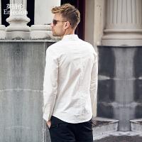 英爵伦 秋季男士棉质修身长袖衬衫 英伦时尚休闲通勤衬衣男