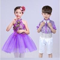 新款六一儿童演出服女孩亮片合唱服蓬蓬裙幼儿跳舞表演服装公主裙