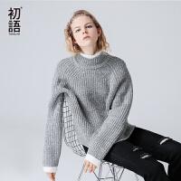 初语 2017秋季新款 高领套头宽松粗毛线女毛衣慵懒薄款针织