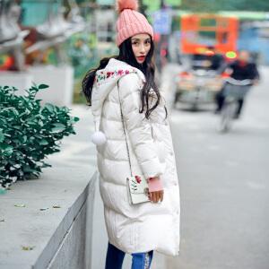 裂帛女装2016冬刺绣圣诞帽毛球白鸭绒服拼色长羽绒服女