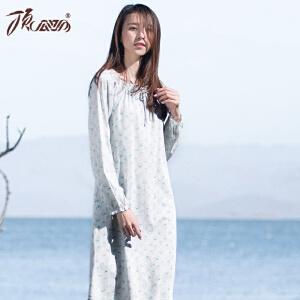 顶瓜瓜睡衣女棉质印花长袖娃娃领中长款睡裙春季新款
