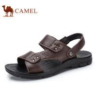 camel骆驼男鞋 2017夏季新品 日常休闲牛皮凉鞋露趾沙滩鞋