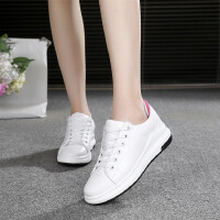 休闲鞋女运动鞋春秋新款女士小白鞋皮面休闲松糕鞋学生板鞋平底低帮跑步鞋女