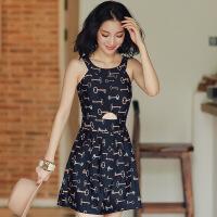 泳衣女连体平角裙式带钢托聚拢遮肚保守韩版温泉泳装 黑色