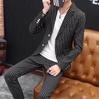 男士西装套装2018春秋季青年韩版修身男士休闲格子一套西服三件套