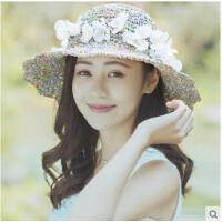 波浪边唯美气质帽子防晒女士遮阳帽防紫外线百搭草帽女韩版沙滩帽海边太阳帽