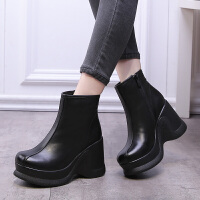 会易2019秋季新款松糕女靴厚底坡跟短靴女真牛皮单靴防水台高跟鞋