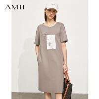 Amii极简100棉休闲连衣裙女2021夏季新款学院风印花宽松中长裙