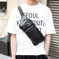 男士胸包新韩版男士胸包 皮质休闲潮流胸包 男士腰包胸前包时尚小背包 黑色